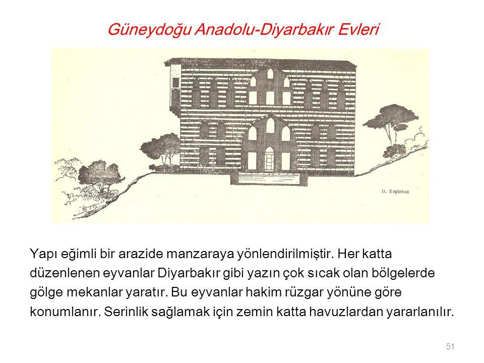 Güneydoğu Anadolu-Diyarbakır Evleri Yapı eğimli bir arazide manzaraya yönlendirilmiştir. Her katta düzenlenen eyvanlar Diyarbakır gibi yazın çok sıcak