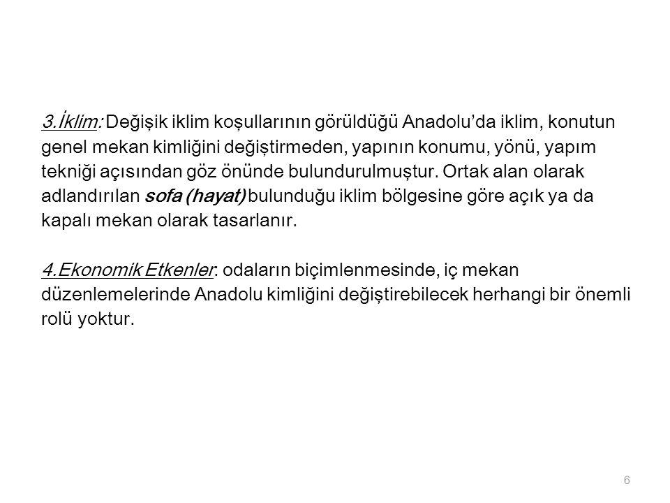Anadolu'da üç ayrı Transhümans'dan söz edilebilir: 1.Kırsal kesim insanının mevsimlik göçü 2.kentlilerin göçü (Adana-Toroslar ikili barınma alışkanlığı) 3.Yönetici grupların Transhümansı (eski göçebelik anlayışının simgesel anısıdır.