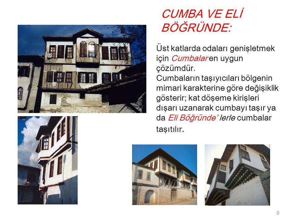 CUMBA VE ELİ BÖĞRÜNDE: 9 Üst katlarda odaları genişletmek için Cumbalar en uygun çözümdür. Cumbaların taşıyıcıları bölgenin mimari karakterine göre de