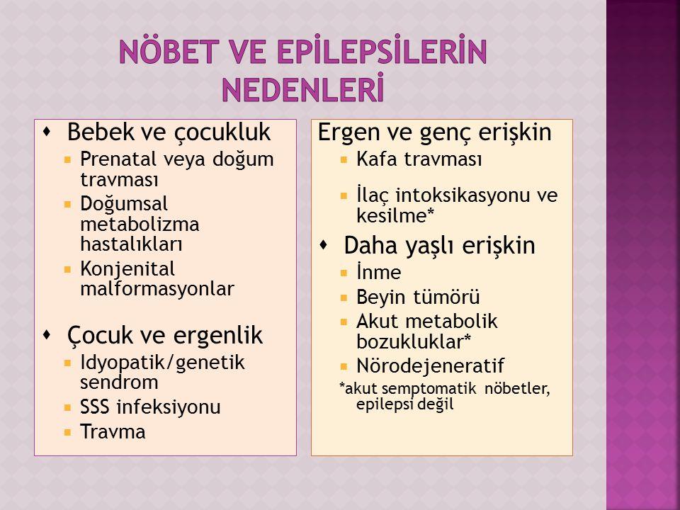  Bebek ve çocukluk  Prenatal veya doğum travması  Doğumsal metabolizma hastalıkları  Konjenital malformasyonlar  Çocuk ve ergenlik  Idyopatik/genetik sendrom  SSS infeksiyonu  Travma Ergen ve genç erişkin  Kafa travması  İlaç intoksikasyonu ve kesilme*  Daha yaşlı erişkin  İnme  Beyin tümörü  Akut metabolik bozukluklar*  Nörodejeneratif *akut semptomatik nöbetler, epilepsi değil