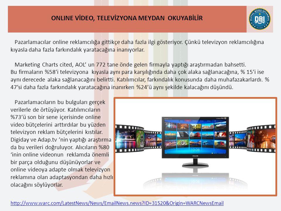 http://www.warc.com/LatestNews/News/EmailNews.news ID=31520&Origin=WARCNewsEmail ONLINE VİDEO, TELEVİZYONA MEYDAN OKUYABİLİR Pazarlamacılar online reklamcılığa gittikçe daha fazla ilgi gösteriyor.