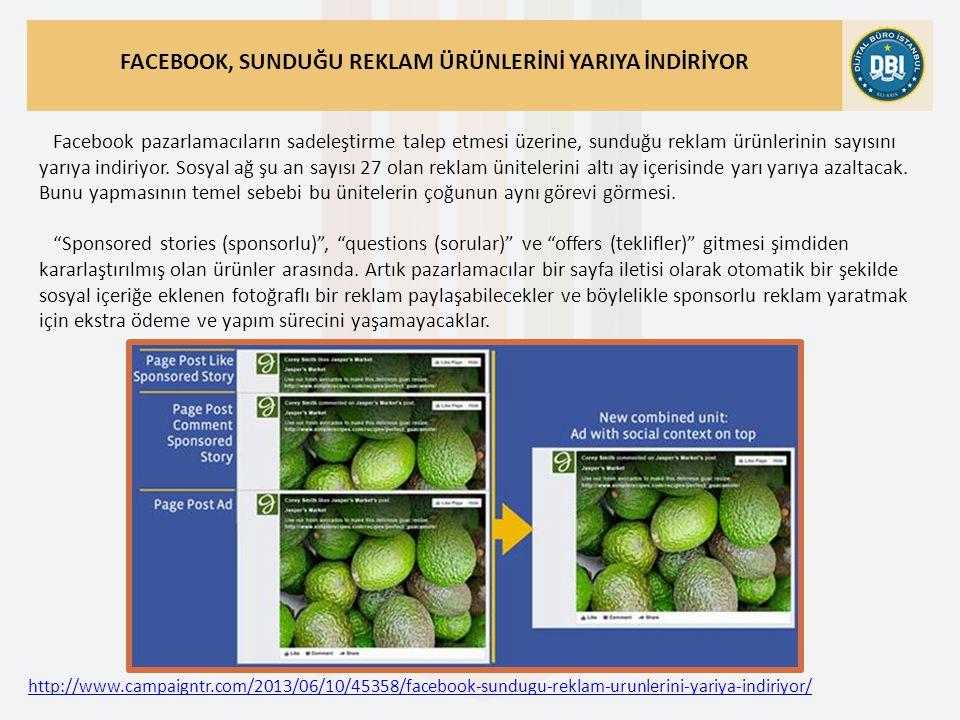 http://www.campaigntr.com/2013/06/10/45358/facebook-sundugu-reklam-urunlerini-yariya-indiriyor/ FACEBOOK, SUNDUĞU REKLAM ÜRÜNLERİNİ YARIYA İNDİRİYOR Facebook pazarlamacıların sadeleştirme talep etmesi üzerine, sunduğu reklam ürünlerinin sayısını yarıya indiriyor.