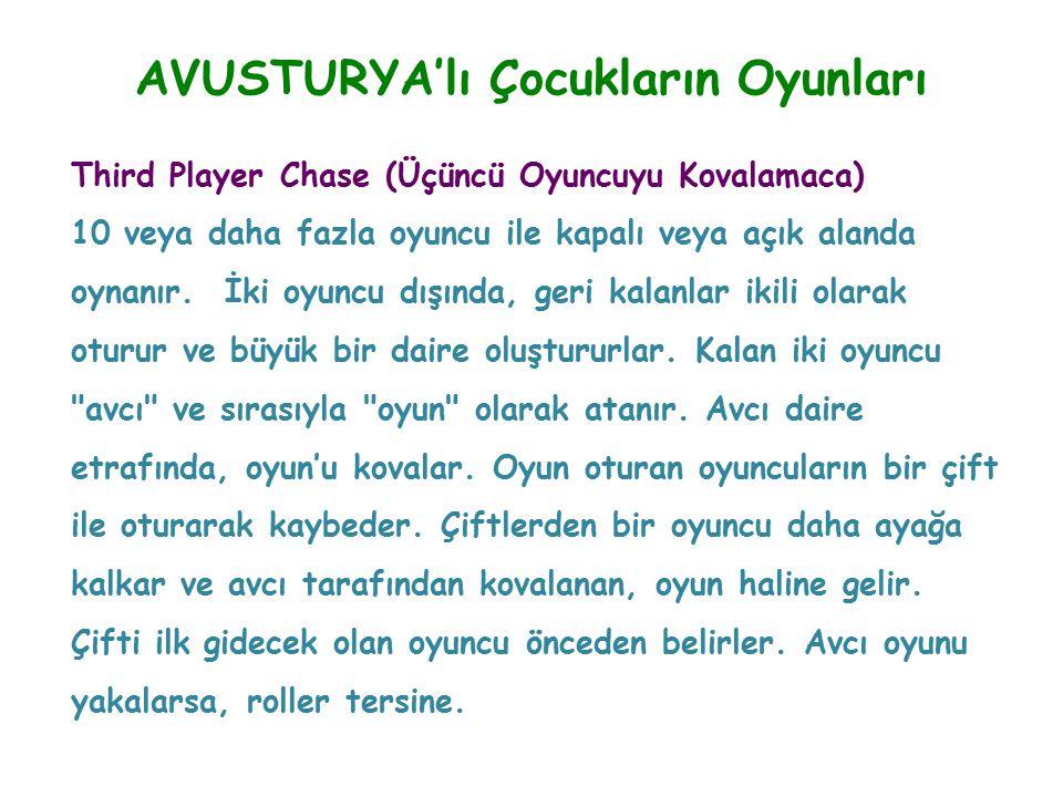 AVUSTURYA'lı Çocukların Oyunları Third Player Chase (Üçüncü Oyuncuyu Kovalamaca) 10 veya daha fazla oyuncu ile kapalı veya açık alanda oynanır. İki oy