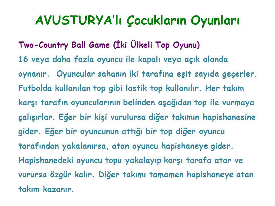 AVUSTURYA'lı Çocukların Oyunları Two-Country Ball Game (İki Ülkeli Top Oyunu) 16 veya daha fazla oyuncu ile kapalı veya açık alanda oynanır. Oyuncular