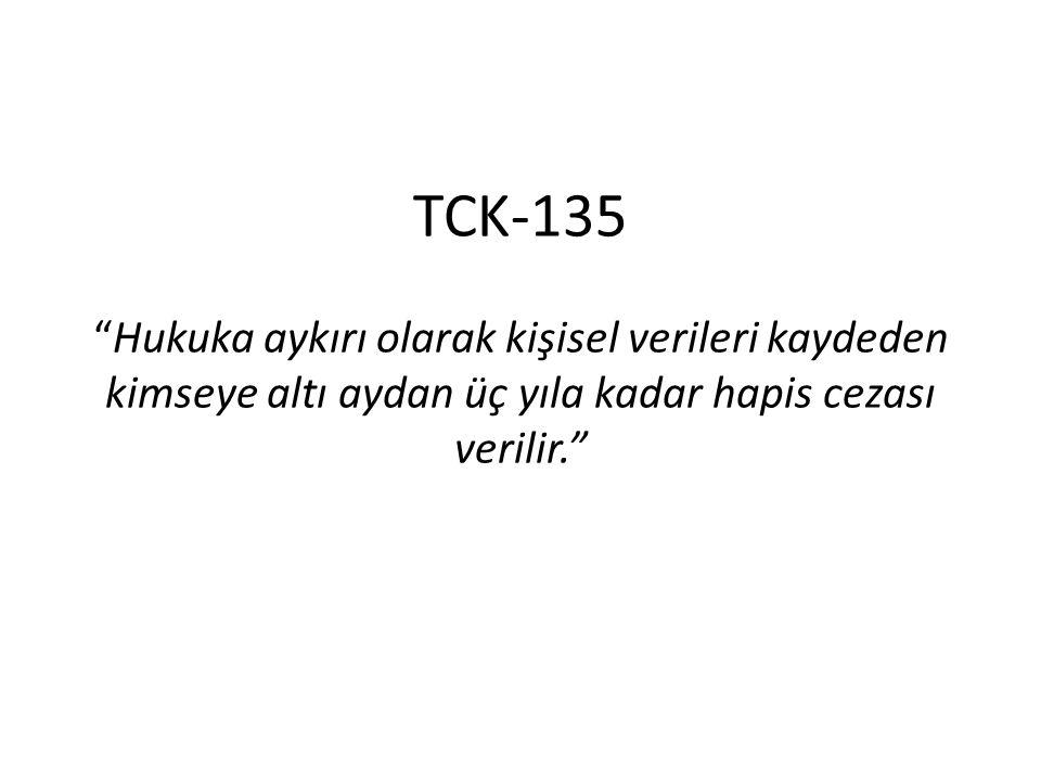 """TCK-135 """"Hukuka aykırı olarak kişisel verileri kaydeden kimseye altı aydan üç yıla kadar hapis cezası verilir."""""""