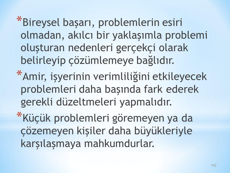 61 * Problemler, iş ve günlük hayatımıza girerek, gereksiz yere üzüntü ve sıkıntı yaşamamıza neden olurlar. * Problemi ne kadar erken belirler ve çözü