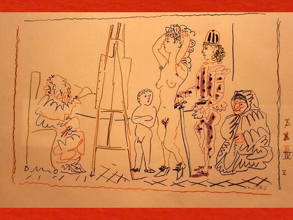 Ya ş lı Ressamın Atölyesi Vallauris, 14 Mart 1954 Ta ş a aktarılmı ş ş effaf transfer baskı kâ ğ ıdı üzerine litografi kalemi The Old Painter's Studio