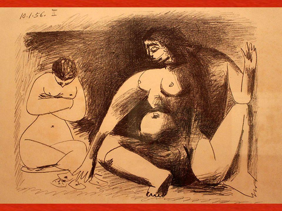 Çömelmi ş İ ki Kadın Cannes, 10 Ocak 1956 Ta ş a aktarılmı ş transfer baskı kâ ğ ıdı üzerine litografi kalemi (frotagge tekni ğ iyle) Two Women, Sitti