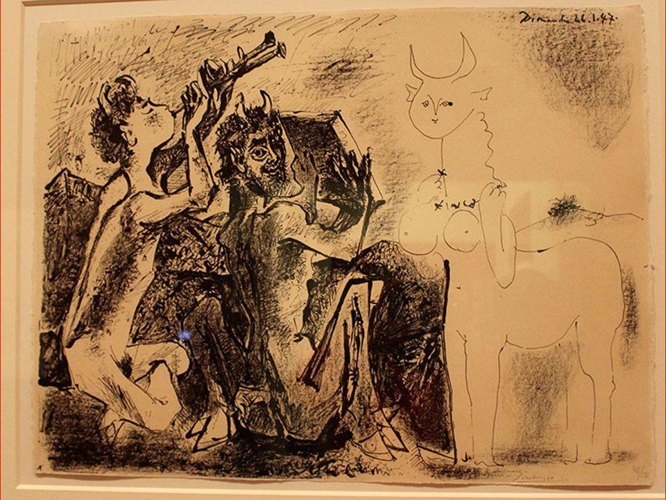 Faunlar ve Kadın Kentaur Paris, 26 Ocak 1947 Ta ş a aktarılmı ş litografi ka ğ ıdı üzerine litografi kalemi, kalem, fırça ve kazıma bıça ğ ı, 43/50 Th