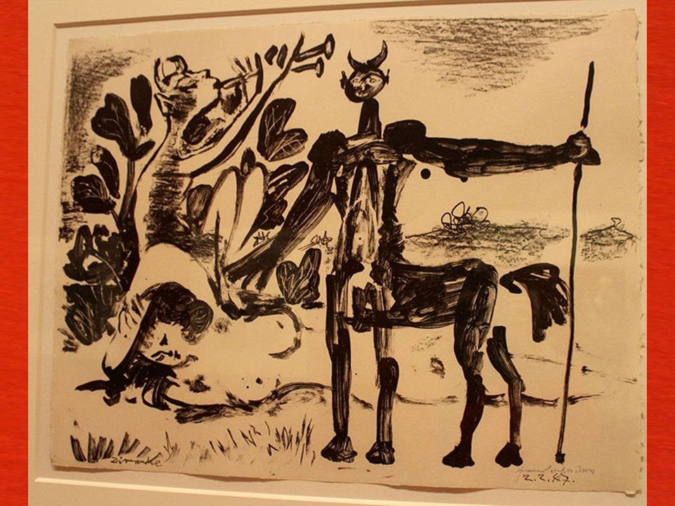 Kentaur ve Bakkha Rahibesi Paris, 2 Ş ubat 1947 Ta ş a aktarılmı ş litografi ka ğ ıdı üzerine lavi, kalem, litografi kalemi ve guva ş Centaur and Bacc