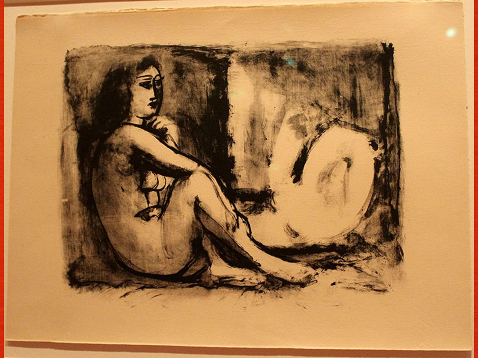 Çömelmi ş İ ki Kadın Cannes, 10 Ocak 1956 Ta ş a aktarılmı ş transfer baskı kâ ğ ıdı üzerine litografi kalemi (frotagge tekni ğ iyle) Two Women, Sitting Cannes, 10 January 1956 Litho crayon (with smudging) on transfer paper transferred onto stone
