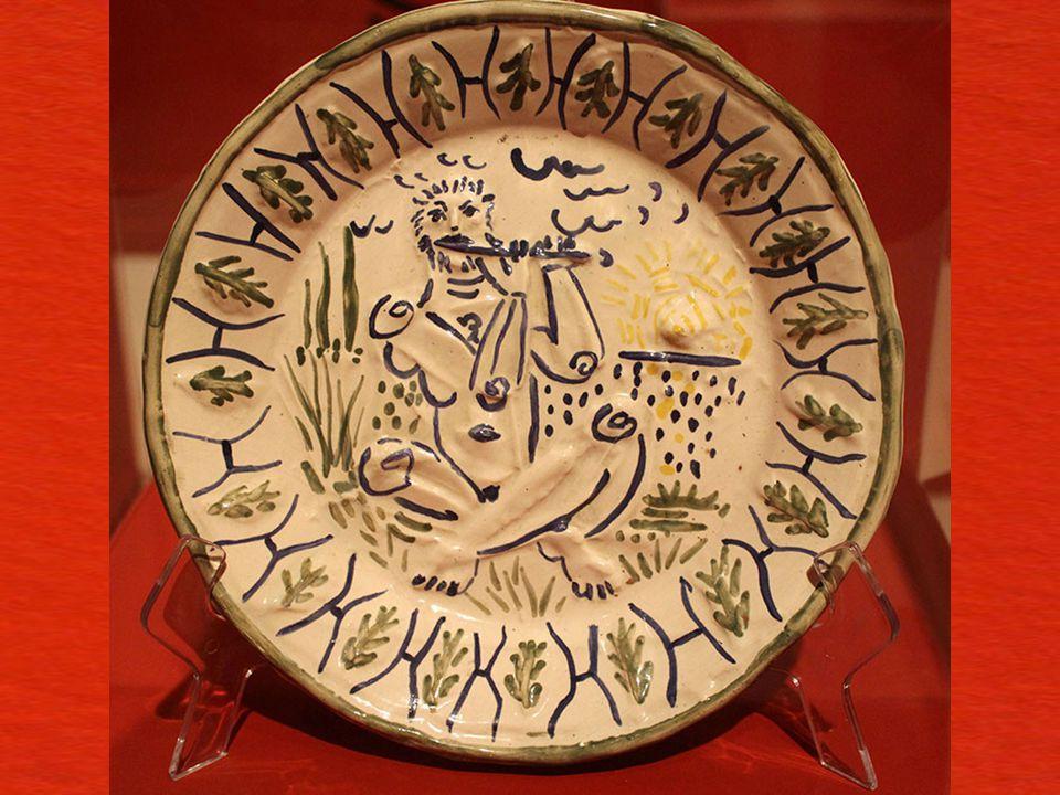 Flütçü Vallauris Oksitle ve beyaz sırla süslenmi ş, mavi, ye ş il ve sarı boyalı beyaz toprak tabak Edition Picasso. Orijinal Picasso baskısı. Madoura