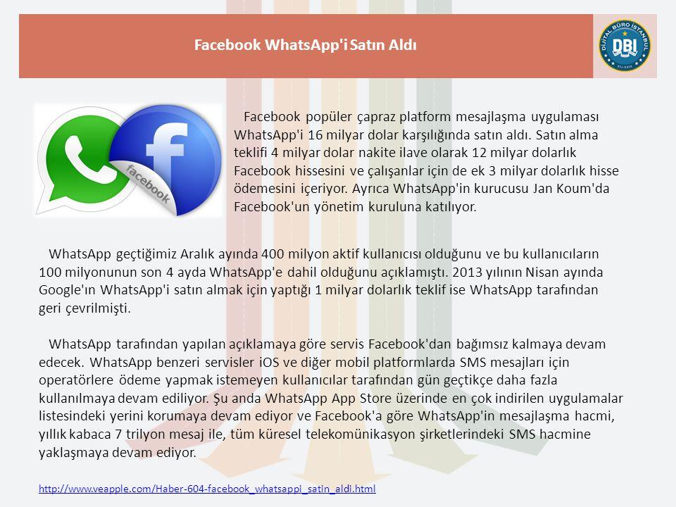 http://www.veapple.com/Haber-604-facebook_whatsappi_satin_aldi.html Facebook WhatsApp i Satın Aldı Facebook popüler çapraz platform mesajlaşma uygulaması WhatsApp i 16 milyar dolar karşılığında satın aldı.