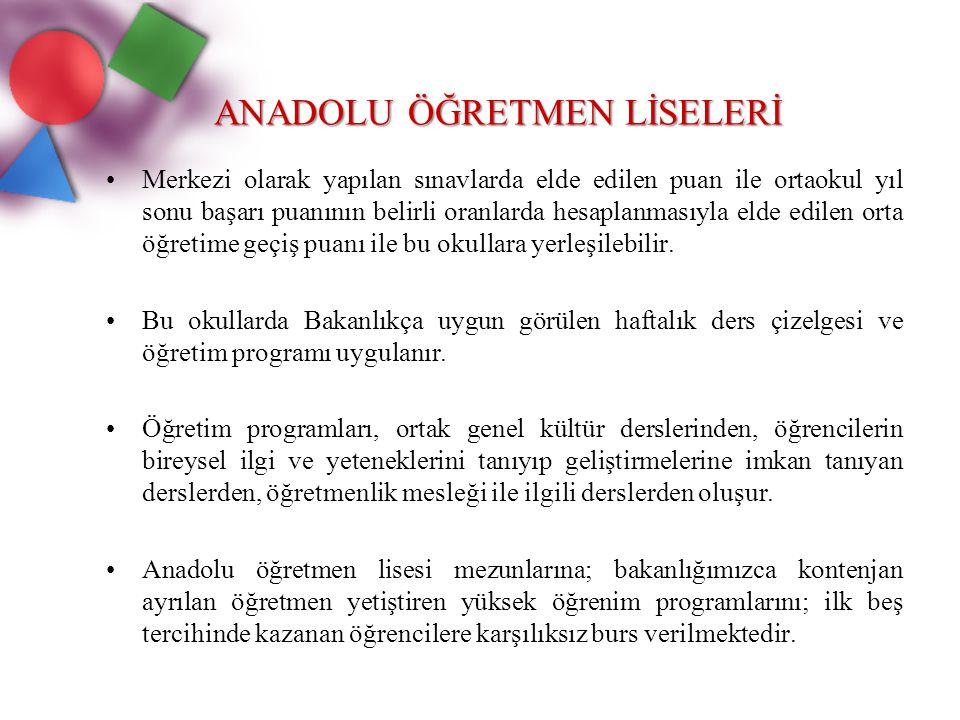 ANADOLU GÜZEL SANATLAR LİSESİ Anadolu güzel sanatlar liseleri, ilköğretim üzerine 4 yıl öğrenim veren yatılı, gündüzlü ve karma okullardır.