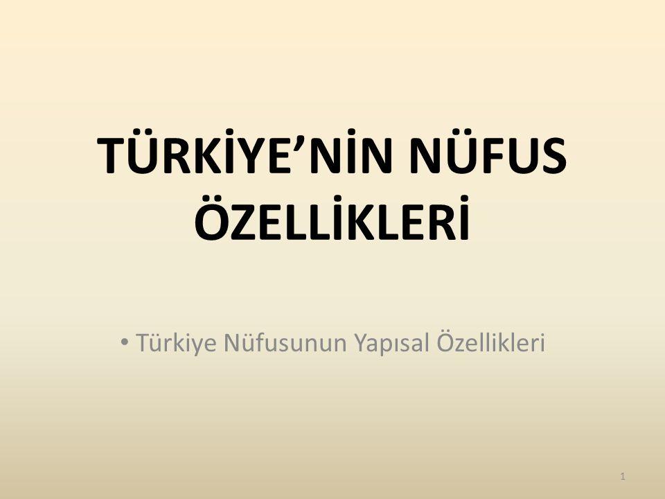TÜRKİYE NÜFUSUNUN YAPISAL ÖZELLİKLERİ Nüfusun Yaş Gruplarına Göre Dağılımı Nüfusun Cinsiyete Göre Dağılımı Çalışan Nüfusun Ekonomik Faaliyet Kollarına Dağılımı Türkiye Nüfusunun Eğitim Durumu 2