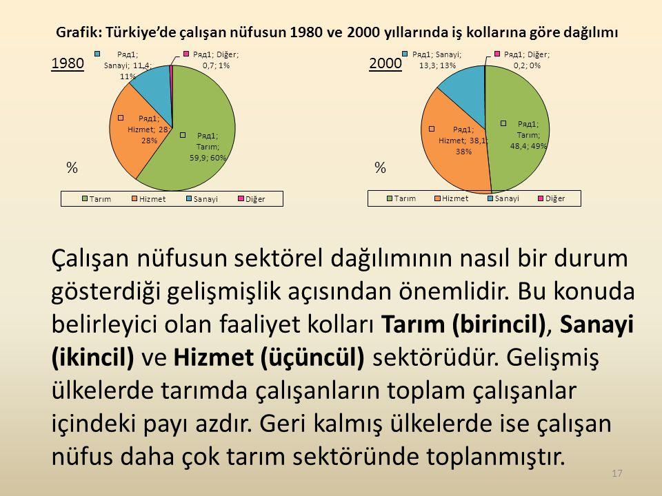19802000 % Çalışan nüfusun sektörel dağılımının nasıl bir durum gösterdiği gelişmişlik açısından önemlidir.