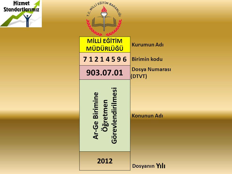 MİLLİ EĞİTİM MÜDÜRLÜĞÜ Kurumun Adı 7 1 2 1 4 5 9 6 Birimin kodu 903.07.01 Dosya Numarası (DTVT) Ar-Ge Birimine Öğretmen Görevlendirilmesi Konunun Adı 2012 Dosyanın Yılı