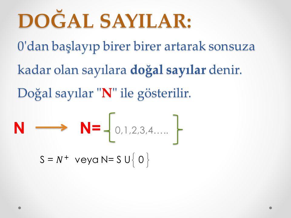DOĞAL SAYILAR: 0'dan başlayıp birer birer artarak sonsuza kadar olan sayılara doğal sayılar denir. Doğal sayılar