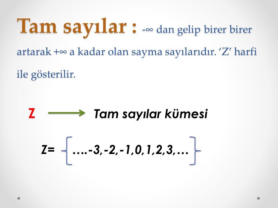Tam sayılar : -∞ dan gelip birer birer artarak +∞ a kadar olan sayma sayılarıdır. 'Z' harfi ile gösterilir. Z Tam sayılar kümesi Z= ….-3,-2,-1,0,1,2,3