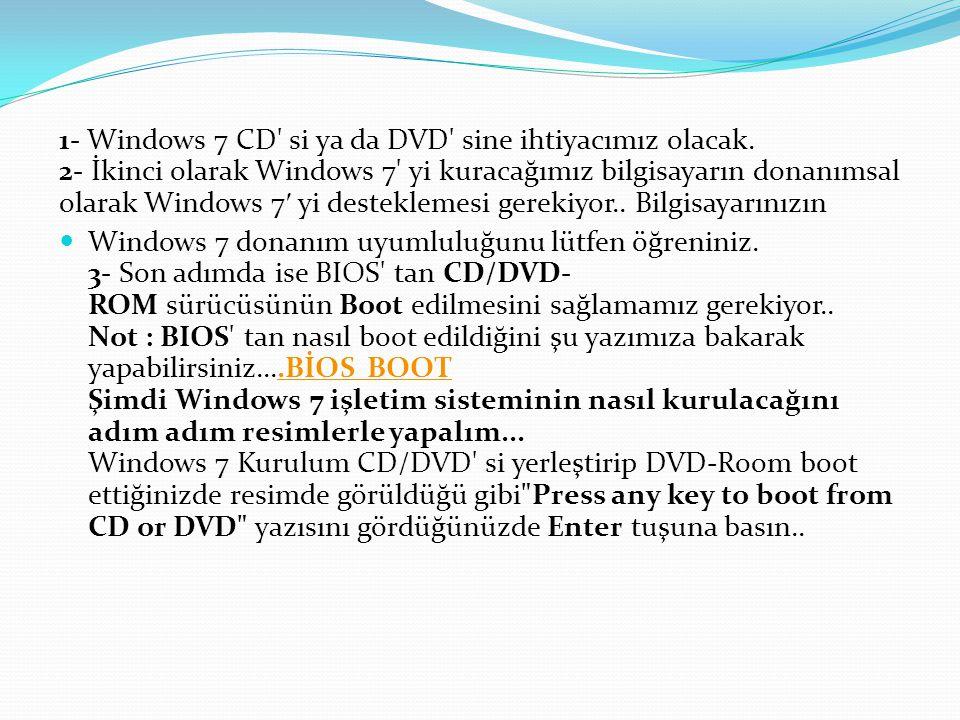 1- Windows 7 CD si ya da DVD sine ihtiyacımız olacak.