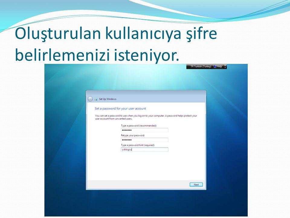 Oluşturulan kullanıcıya şifre belirlemenizi isteniyor.