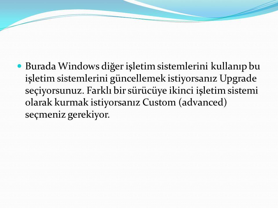 Burada Windows diğer işletim sistemlerini kullanıp bu işletim sistemlerini güncellemek istiyorsanız Upgrade seçiyorsunuz.