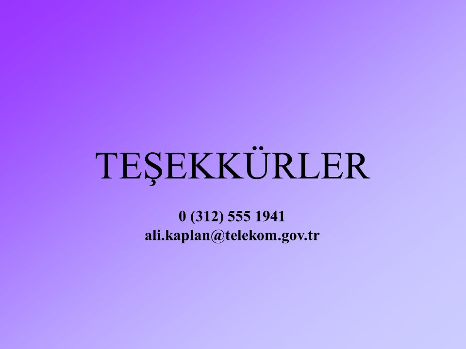 TEŞEKKÜRLER 0 (312) 555 1941 ali.kaplan@telekom.gov.tr