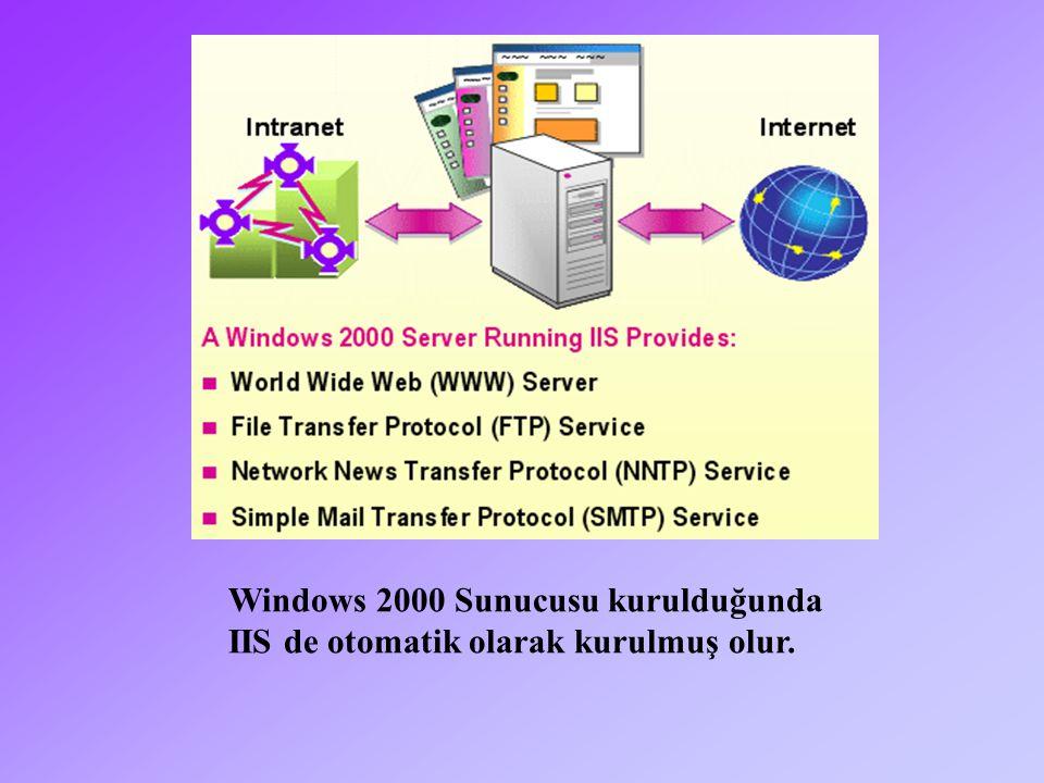 Windows 2000 Sunucusu kurulduğunda IIS de otomatik olarak kurulmuş olur.