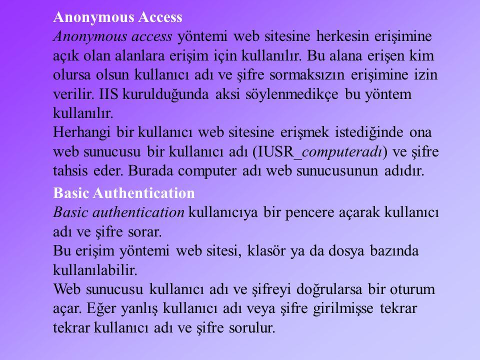 Anonymous Access Anonymous access yöntemi web sitesine herkesin erişimine açık olan alanlara erişim için kullanılır.