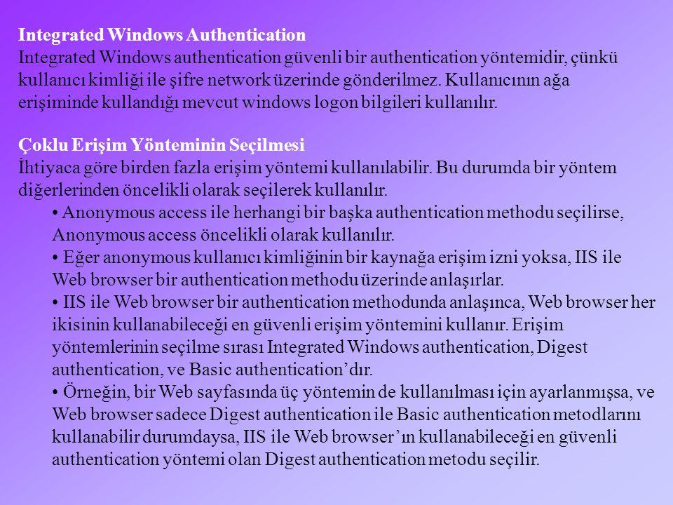 Anonymous Access Anonymous account'unun log on locally erişim hakkına sahip olması gerekir.