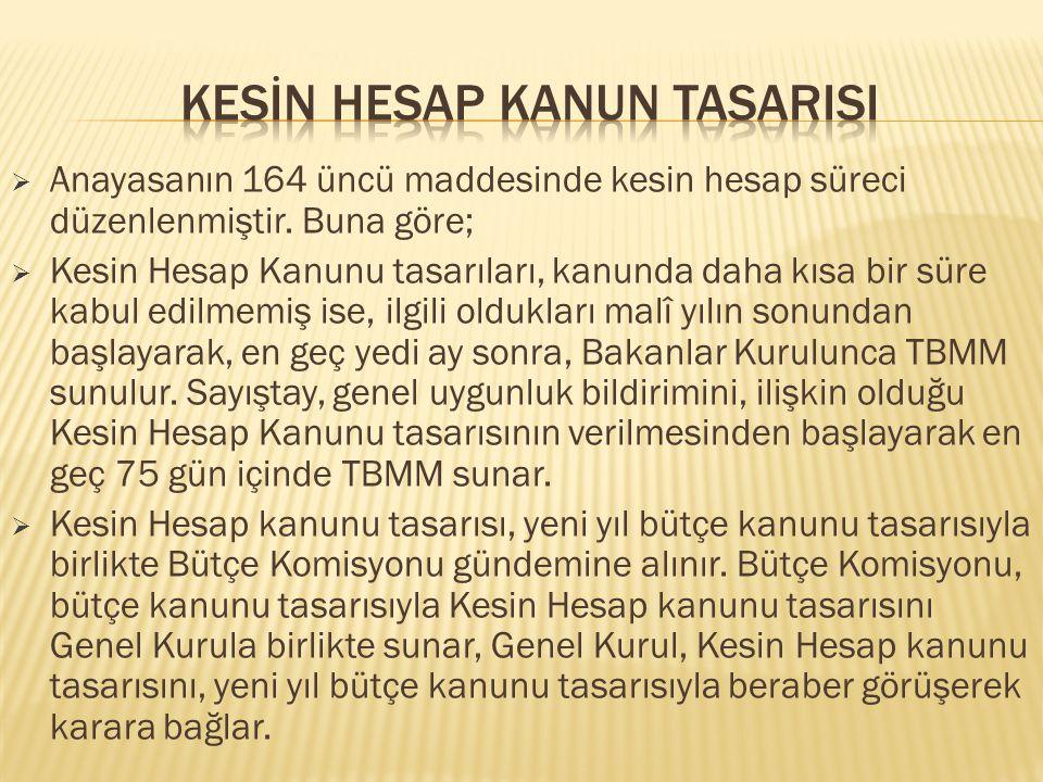  Anayasanın 164 üncü maddesinde kesin hesap süreci düzenlenmiştir.