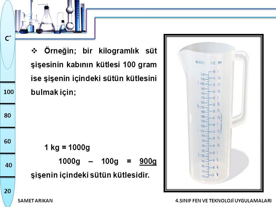20 40 60 80 100 SAMET ARIKAN4.SINIF FEN VE TEKNOLOJİ UYGULAMALARI C˚  Örneğin; bir kilogramlık süt şişesinin kabının kütlesi 100 gram ise şişenin içi