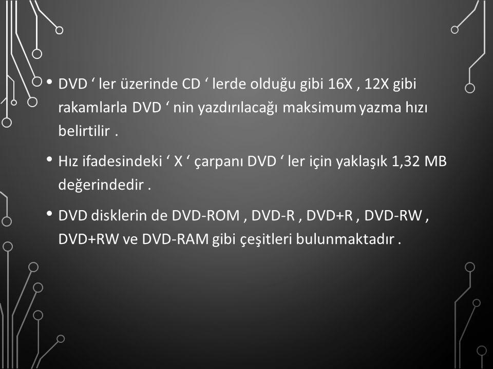 DVD ' ler üzerinde CD ' lerde olduğu gibi 16X, 12X gibi rakamlarla DVD ' nin yazdırılacağı maksimum yazma hızı belirtilir. Hız ifadesindeki ' X ' çarp
