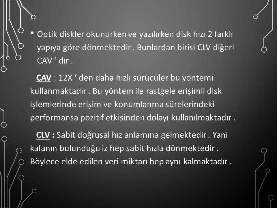 Optik diskler okunurken ve yazılırken disk hızı 2 farklı yapıya göre dönmektedir. Bunlardan birisi CLV diğeri CAV ' dır. CAV : 12X ' den daha hızlı sü