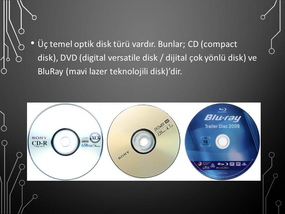 Üç temel optik disk türü vardır. Bunlar; CD (compact disk), DVD (digital versatile disk / dijital çok yönlü disk) ve BluRay (mavi lazer teknolojili di