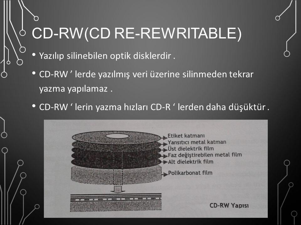 CD-RW(CD RE-REWRITABLE) Yazılıp silinebilen optik disklerdir. CD-RW ' lerde yazılmış veri üzerine silinmeden tekrar yazma yapılamaz. CD-RW ' lerin yaz