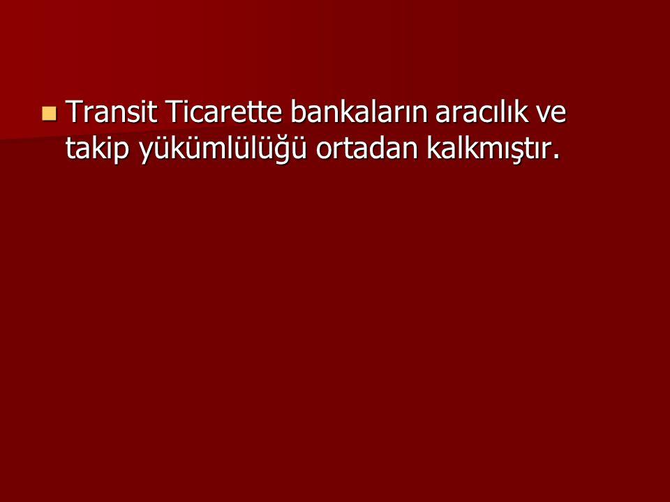 Transit Ticarette bankaların aracılık ve takip yükümlülüğü ortadan kalkmıştır. Transit Ticarette bankaların aracılık ve takip yükümlülüğü ortadan kalk