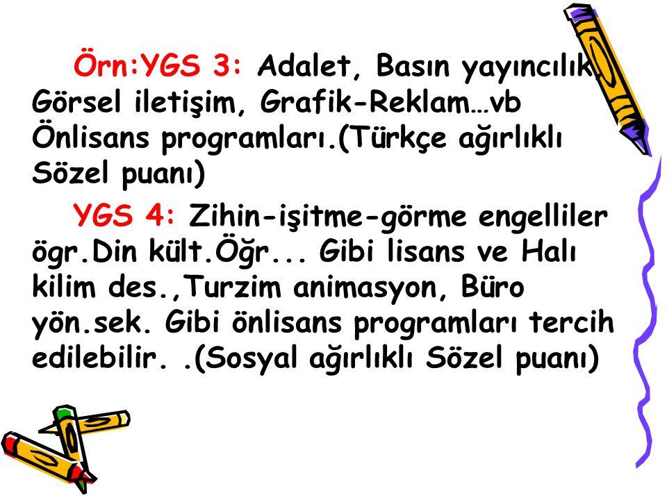 Örn:YGS 3: Adalet, Basın yayıncılık, Görsel iletişim, Grafik-Reklam…vb Önlisans programları.(Türkçe ağırlıklı Sözel puanı) YGS 4: Zihin-işitme-görme e