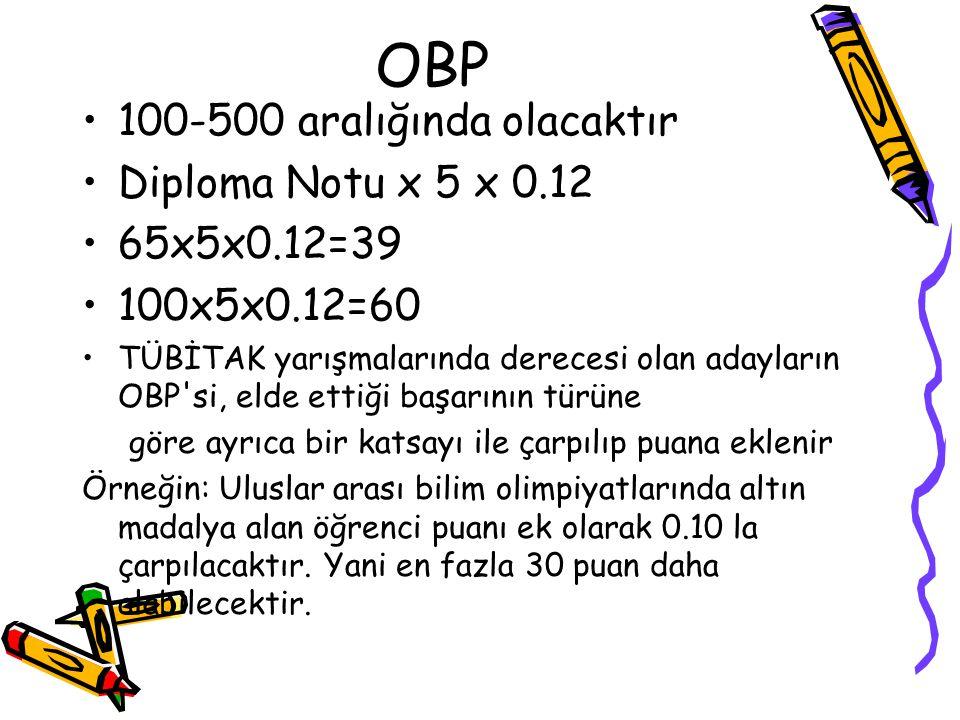 OBP 100-500 aralığında olacaktır Diploma Notu x 5 x 0.12 65x5x0.12=39 100x5x0.12=60 TÜBİTAK yarışmalarında derecesi olan adayların OBP'si, elde ettiği