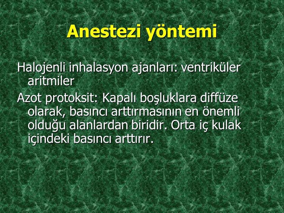 Anestezi yöntemi Halojenli inhalasyon ajanları: ventriküler aritmiler Azot protoksit: Kapalı boşluklara diffüze olarak, basıncı arttırmasının en öneml