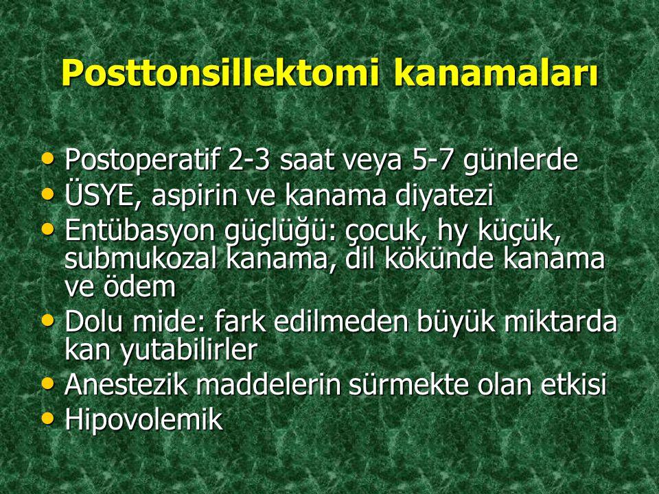 Posttonsillektomi kanamaları Postoperatif 2-3 saat veya 5-7 günlerde Postoperatif 2-3 saat veya 5-7 günlerde ÜSYE, aspirin ve kanama diyatezi ÜSYE, as