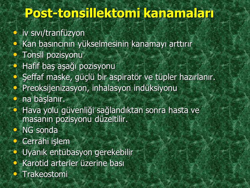 Post-tonsillektomi kanamaları Post-tonsillektomi kanamaları iv sıvı/tranfüzyon iv sıvı/tranfüzyon Kan basıncının yükselmesinin kanamayı arttırır Kan b