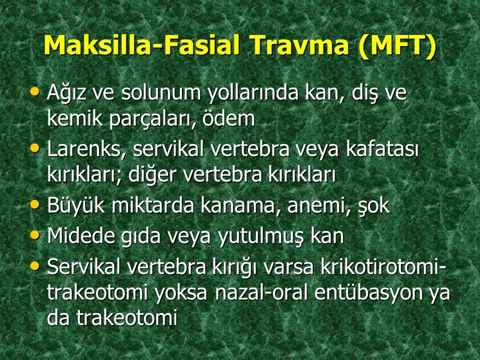 Maksilla-Fasial Travma (MFT) Ağız ve solunum yollarında kan, diş ve kemik parçaları, ödem Ağız ve solunum yollarında kan, diş ve kemik parçaları, ödem