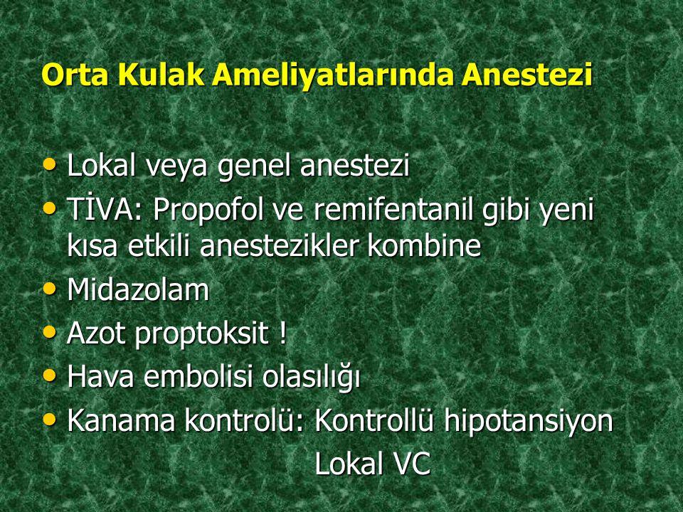 Orta Kulak Ameliyatlarında Anestezi Lokal veya genel anestezi Lokal veya genel anestezi TİVA: Propofol ve remifentanil gibi yeni kısa etkili anestezik