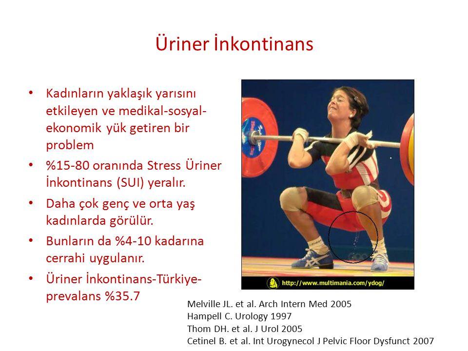 Üriner İnkontinans Sınıflama 1- Üretral sfinkterik yetmezlik (Stres İnkontinans) a- Ürodinamik (Gerçek) Stres inkontinans (GSI) I- Anatomik destek yetersizliği II- İntrinsik sfinkter yetmezliği b- Üretral sfinkter relaksasyon (Üretral instabilite ) 2- İstemsiz detrusör kontraksiyonu(Urge İnkontinans) a- İdiopatik Detrusör Overaktivitesi (DI) b- Nörojenik Detrusör Overaktivitesi (DH) 3- Miks tip inkontinans 4- Taşma inkontinansı (Overflow inkontinans) 5- Üretra dışında gelişen (Baypas) inkontinans 6- Geçici ya da fonksiyonel üriner inkontinans 7-Psikojenik İnkontinans