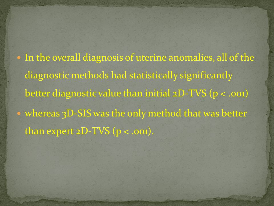 In the overall diagnosis of uterine anomalies, all of the diagnostic methods had statistically significantly better diagnostic value than initial 2D-T