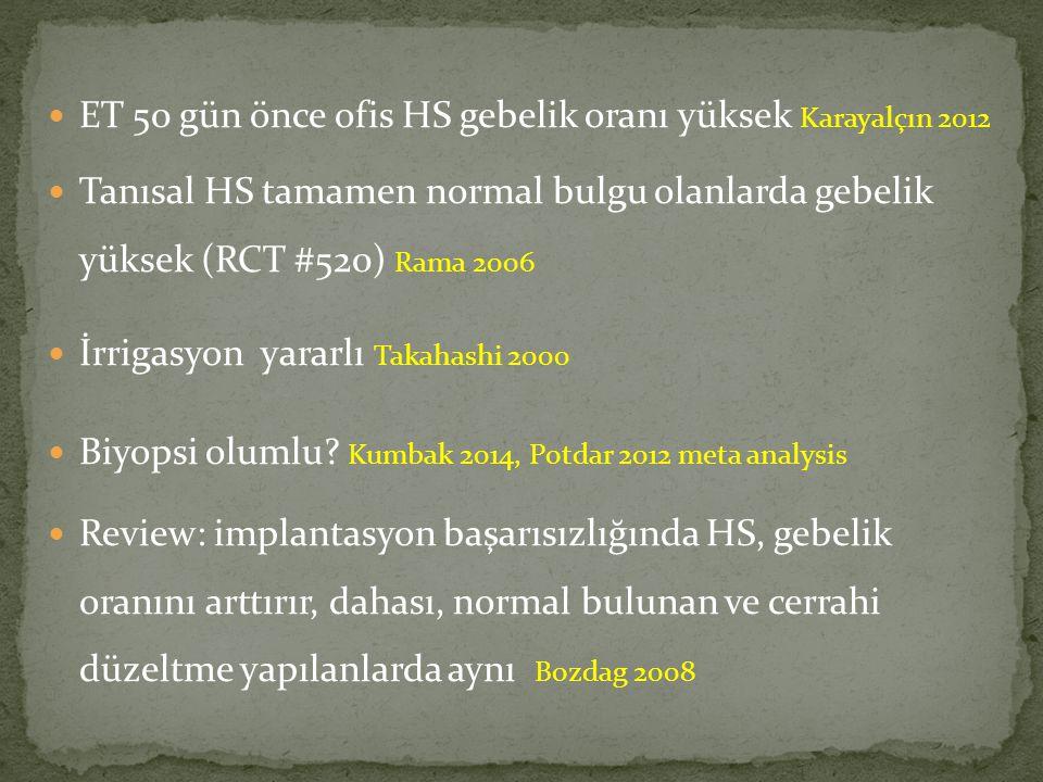 ET 50 gün önce ofis HS gebelik oranı yüksek Karayalçın 2012 Tanısal HS tamamen normal bulgu olanlarda gebelik yüksek (RCT #520) Rama 2006 İrrigasyon y