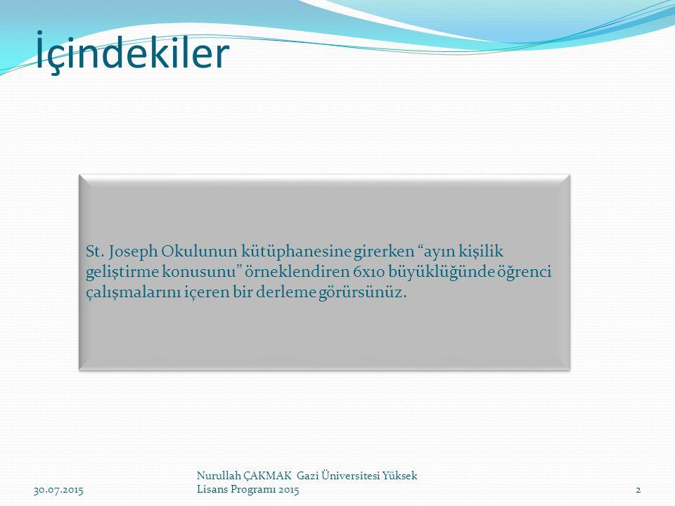İçindekiler 30.07.2015 Nurullah ÇAKMAK Gazi Üniversitesi Yüksek Lisans Programı 20152 St.