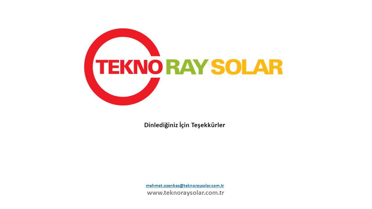 mehmet.ozenbas@teknoraysolar.com.tr www.teknoraysolar.com.tr Dinlediğiniz İçin Teşekkürler