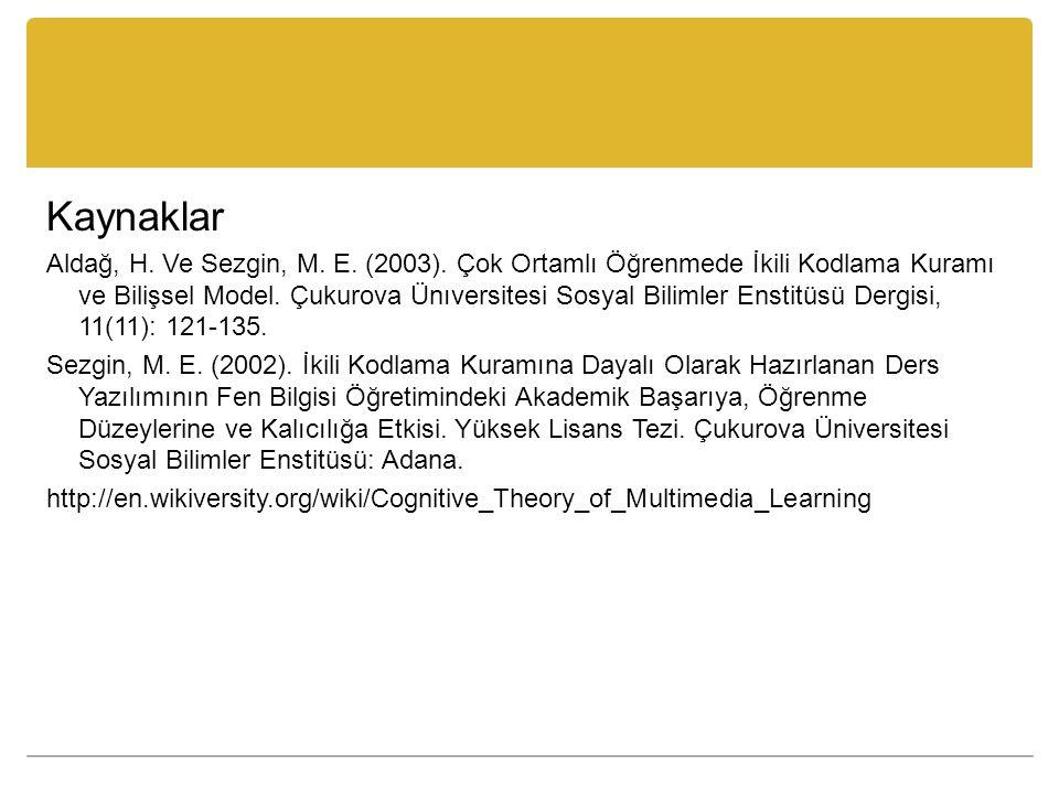 Kaynaklar Aldağ, H. Ve Sezgin, M. E. (2003). Çok Ortamlı Öğrenmede İkili Kodlama Kuramı ve Bilişsel Model. Çukurova Ünıversitesi Sosyal Bilimler Ensti